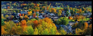 Vermont small town with trees in autumn colors. Vermont, New England, USA